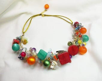 Handmade colorful necklace in a color feast