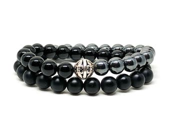 Men's beaded bracelet made with 925 Silver, onyx and hematite, men's beaded bracelet, beaded bracelet, men's bracelet, bracelet, bracelets