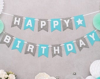 Happy Birthday Felt Bunting Blue and Gray Flags Lettering Banner Garland Party Decorations