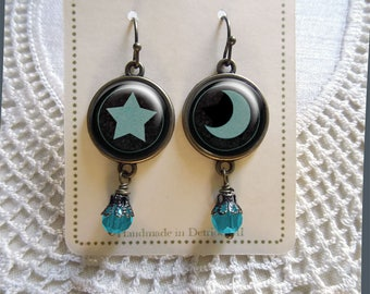 Dark Moon and Star mismatched Earrings