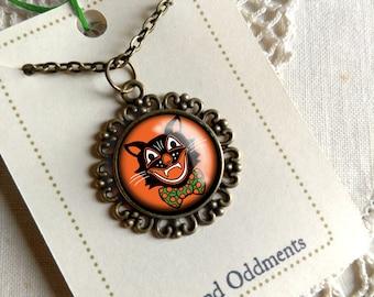 Retro Halloween Black Cat  Pendant Necklace