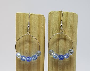 Blue Sparkle Earrings, Blue Hombre Earrings, Czech Earrings, Blue Earrings, Sparkle Earrings, Dangle Earrings, Gifts for Mom, Gifts for Her