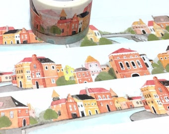 small town little village washi tape 5Mx 3cm europe house old house red brick house fairytale city scenes landscape sticker wide tape decor