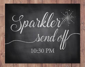 Wedding sparkler send off sign - rustic wedding send off sign - sparkler sign - PRINTABLE - 8x10 - 5x7