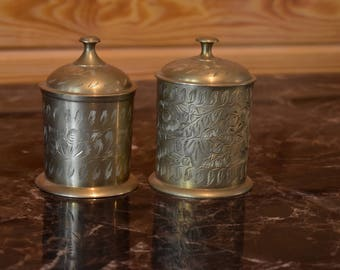 Vintage Brass Etched Lidded Jars