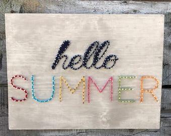 "READY TO SHIP String Art, ""Hello Summer"" String Art, Summer Decor"