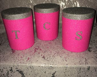 tea coffee sugar jars, kitchen storage canisters, glitter, sparkly, tea container, coffee pot, sugar pot