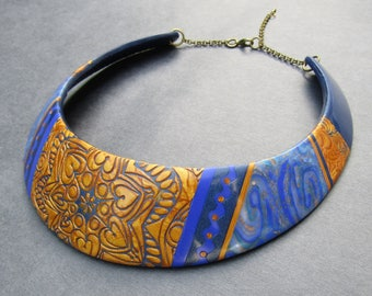 Blue and gold polymer clay bib necklace