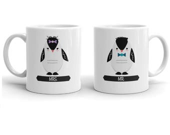 MR and MRS Mug Set |Penguins Valentine Day Gift | Wedding Gift for Couple Anniversary | Engagement Gift Mugs | Penguins Couple Coffee Mugs