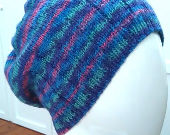 Mens Multi Coloured Hand Knitted 100% Bamboo Wool Beanie