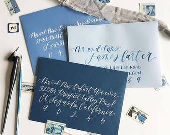 ENVELOPE CALLIGRAPHY Services, envelope addressing, calligraphy, modern calligraphy, hand lettering, hand lettered envelopes, stationery