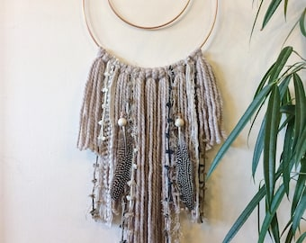 Boho Wall Hanging whimsical triangle neutral dreamcatcher macramé wall hanging