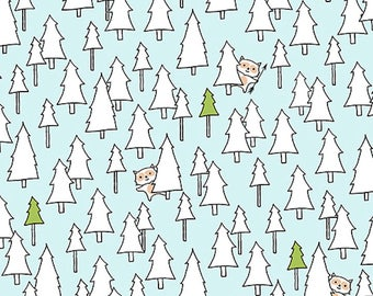 Ink & Arrow Camp S'More, Trees  Light Teal, Camping Quilt, Modern Quilt, Modern Fabric, Fun Fabric