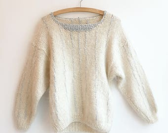 Vintage fluffy wool cropped knit jumper sweater S/XS