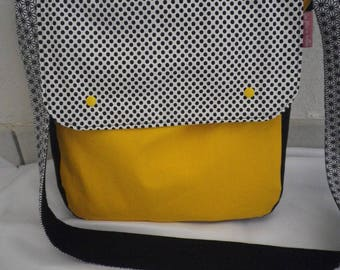 SHOULDER bag in yellow, white and black - fabric back-gift idea