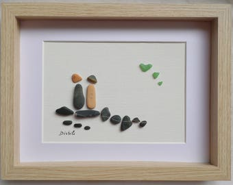 Gift of love. Love painting, Pebble art, Pebbles and seaglass, Declaration of love, Engagement gifts, Wedding anniversary .