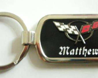 Classic Corvette C5 Black Onyx & Silver Keychain-Free Engraving