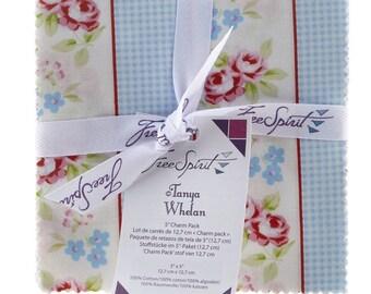 "Tanya Whelan Rambling Rose Charm Pack- 42 5"" inch squares quilting cotton freespirit precut roses floral cherries pink blue"