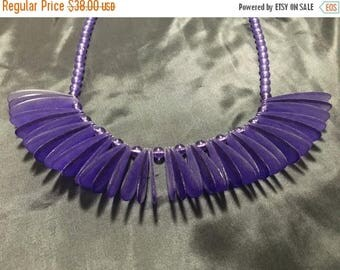 """SALE Vintage Purple Frosted Translucent Lucite Beaded w/ Clear and Frosted Lucite """"butterfly wings"""" Necklace"""