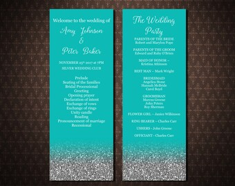 Wedding program templates, Tiffany Blue Wedding Program, Instant download, Printable wedding program, code-048-2