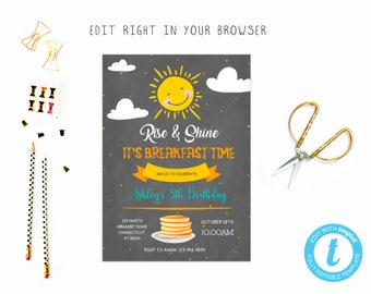 Rise shine pancake birthday party tem, TRY BEFORE you BUY, instant download, edit yourself invitation,Template Editable