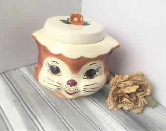 Miss Priss Copy Kitty Cookie Jar / Miss Priss Copy Cat Cookie Jar / Vintage Cookie Jar / Vintage Cookies / Vintage Kitchen / Cookie Jar