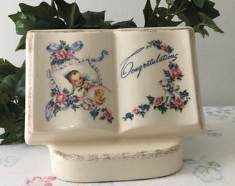 1940's Porcelain Nursery Baby Gift Planter