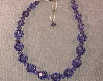 purple adjustable Swarovski crystal bracelet. 046