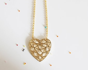 Long necklace, chain, gold plated heart pendant necklace