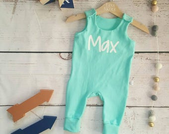 Baby romper, Toddler romper, baby girls romper, girl long sleeve, Unisex romper, Personalised romper, mint green romper, toddler dungaree