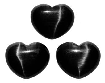 Lot of 3 Puffy Heart Black Fiber Optic Cats Eye Glass Pocket Sized Hand Carved