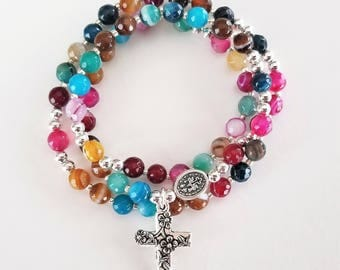 Striped Agate Rosary Stretch Bracelet