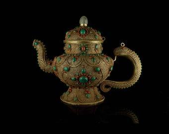 Handmade exclusive filigree teapot tibetanNepal/ Tibet art