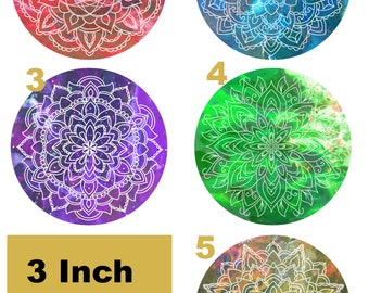 Mandala 3 Inch Psychedelic Matte Vinyl Stickers