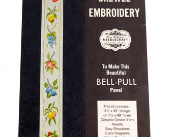 Elsa Williams Fruit Bell Pull Crewel Kit Linen Strawberries Cherries Pears Grape