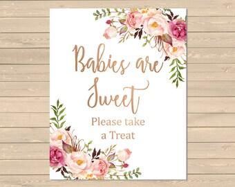 Rose Gold Boho Floral Babies are Sweet Sign, Babies are Sweet Take a Treat Shower Sign, Floral Boho Favors Sign, Printable, Download 025-RG