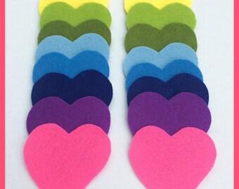 Pre-cut felt rainbow hearts DIY