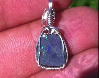 Black, gray, dark Lightning Ridge, Australia - Opal pendant opal pendant wire wrapped silver threads