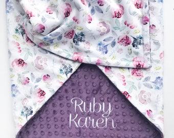 Minky Baby Blanket - Baby Blanket with Name - Personalized Baby Blanket - Floral Baby Blanket - Monogram Baby Blanket  - Receiving Blanket