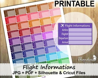 50% OFF SALE Flight Info Printable Planner Stickers, Erin Condren Planner Stickers, EC Printable Stickers, Flight Info Stickers - Cut Files