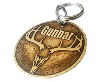 Dog ID Tag - Hunting Tag - Deer Skull