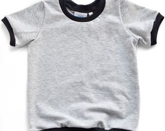 Grey and black short sleeve pullover
