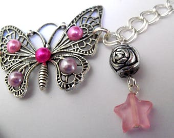 Cute pink butterfly bracelet, silver chain and charms
