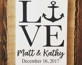 Family name sign, personalized wedding sign, custom order wedding sign, custom date sign, anniversary gift
