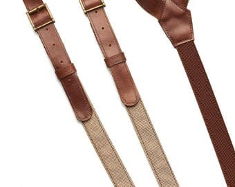 Christmas mens gift, Mens Leather suspenders,adjustable suspenders, wedding suspenders, leather braces, casual suspenders, gentelman belt