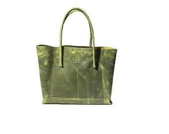 Big leather bag tote bag shopping bag shopper Ledershopper vintage style used look leather handmade