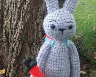 Crochet bunny with bag and carrots, handmade, for children