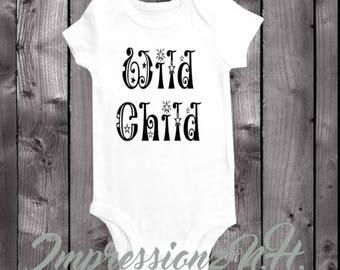 wild child- funny baby onesie - funny baby bodysuit,  one-piece shirt
