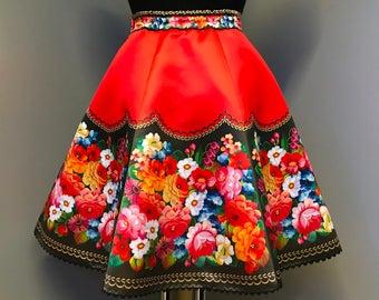 Skirt/European Style/Zhostovo painting/Print/Kawaii/Russian Style/Red