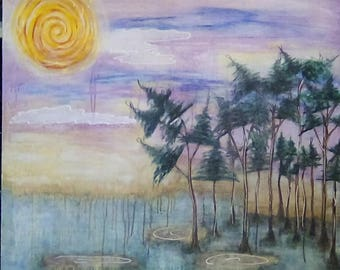 Abstract Painting Rainy Day in Conway Mixed Media Art